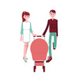 happy young family couple with baby in pram vector image vector image