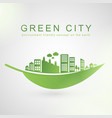 isolated city buildings on green leaf design vector image vector image