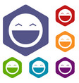 laughing emoticon icons set vector image vector image