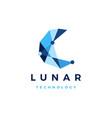 lunar moon technology geometric polygonal logo vector image vector image