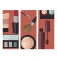 makeup cards perfume mascara care brushes comb vector image