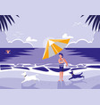 man in tropical beach seascape scene vector image