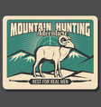 mountain goat hunting adventure poster vector image