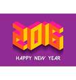 New Year 2016 isometric vintage retro 3d font card vector image vector image