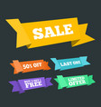 origami styled sale and promotion ribbons set vector image vector image