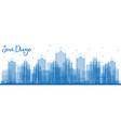 outline san diego california usa city skyline vector image vector image
