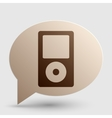 Portable music device Brown gradient icon on vector image