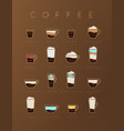 poster coffee flat brown cups vector image