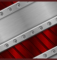 red metal background with rivets stainless steel vector image