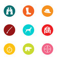research hunting icons set flat style vector image vector image