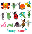 Set isolated with funny insect