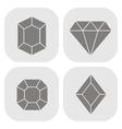 set of monochrome icons with diamonds vector image