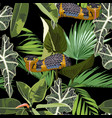 snake and tropical plants seamless pattern vector image