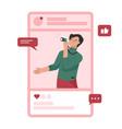 social media concept photographer takes photo vector image