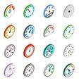 Speedometer icons set isometric 3d style vector image