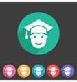 Student in graduation cap flat icon vector image vector image