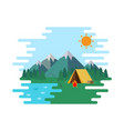summer camp landscape forrest with wellow tent in vector image