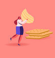 tiny female character carry huge corrugated potato vector image