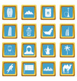 uae travel icons azure vector image vector image