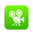 video camera icon green vector image vector image