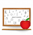 Welcome back to school with blackboard and apple vector image vector image