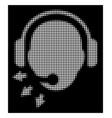 white halftone operator message icon vector image