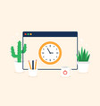 window screen clock time color web icons in vector image