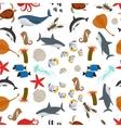 Sea animals flat style seamless pattern vector image