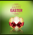 easter eggs with a red ribbon on green background vector image