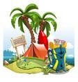 a cartoon green hill near sea with palm trees vector image