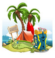 a cartoon green hill near the sea with palm trees vector image