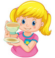 a girl drinking tea vector image