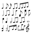 a set of musical notes collection of black vector image