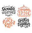 autumn hand written lettering isolated on white vector image vector image