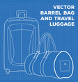 blueprint of travel luggage and barrel bag vector image