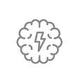 brain with acute pain line icon brain disease vector image