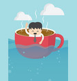 businessman in coffee cup vector image vector image