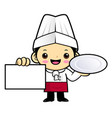 cartoon chef character is holding a plate and vector image vector image