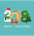 christmas 2018 greeting card flat design modern vector image vector image