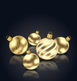 Christmas Golden Balls with Reflection vector image vector image