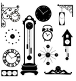 clock and watch collection black interior element vector image