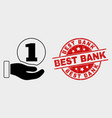coin donation hand icon and grunge best vector image vector image