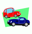 comic character cars in parking lot vector image