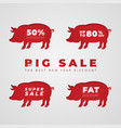 cut out red pig in paper design isolated on white vector image