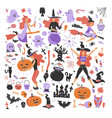 cute young witch halloween set objects collection vector image