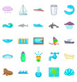 dip icons set cartoon style vector image vector image