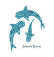 drawing of whale shark vector image vector image