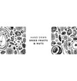 dried fruits and nuts banner hand drawn vector image