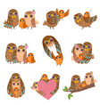 family owls set father mother and their baby vector image