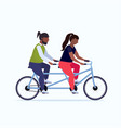 fat obese couple riding tandem bike african vector image vector image